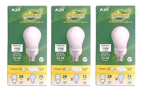 Capsule Compact Fluorescent Light Bulb (Set of 3 Earth Bulb brand CFL A20 1100 Lumens 75 Watts Light Bulbs)