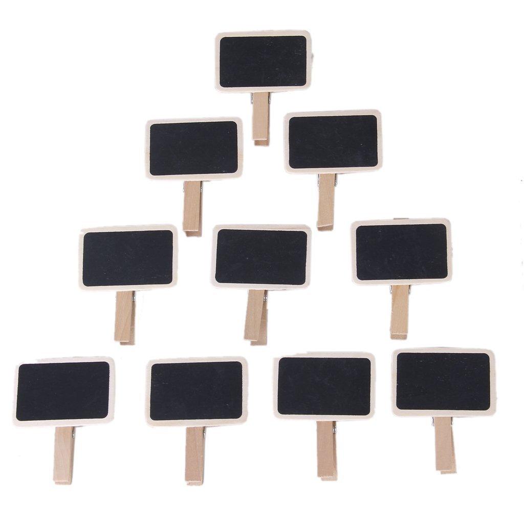 Musuntas 10 pcs Mini negro pizarra Mini pizarra de madera aviso Photo Clip pizarras Portanombre mesa boda - mesa número y Precio