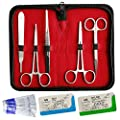 Suture Kit - 10 Piece Stainless Steel Training Instruments With Scalpel Handle and 5 #10 Blades. For Medical, Veterinarian, Biology and Dissection Lab Students.