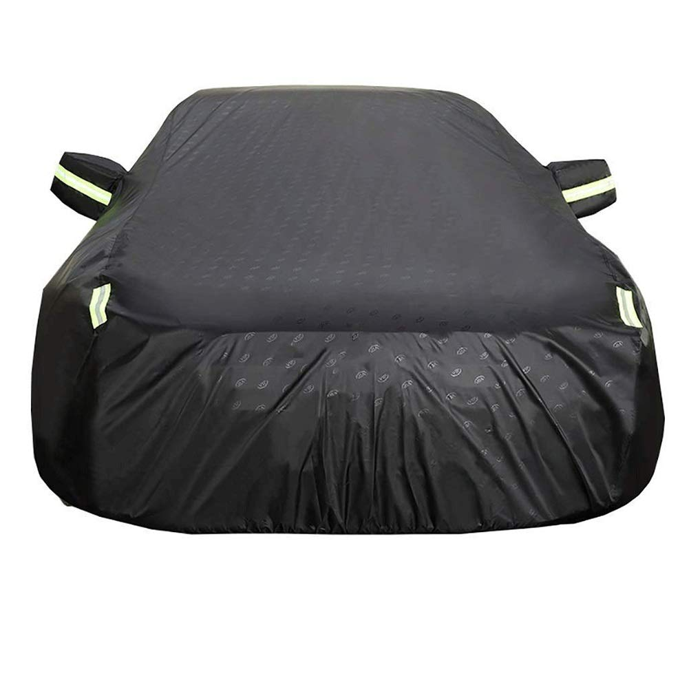 Car Cover Waterproof All Weather Anti-Bird DroppingsAdd CottonLockAnti-Theft Wire Anti-UV (Color : Black, Size : Enhanced)
