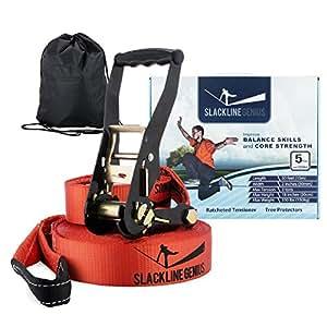 Slackline Genius Kit, Slack Line / Tension Ratchet / Tree Protectors, Core and Balance Exercise Equipment with Carry Bag