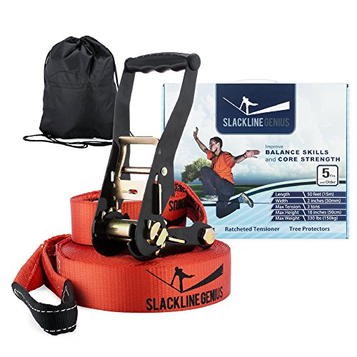 Slackline Genius Kit, Slack Line / Tension Ratchet / Tree Protectors