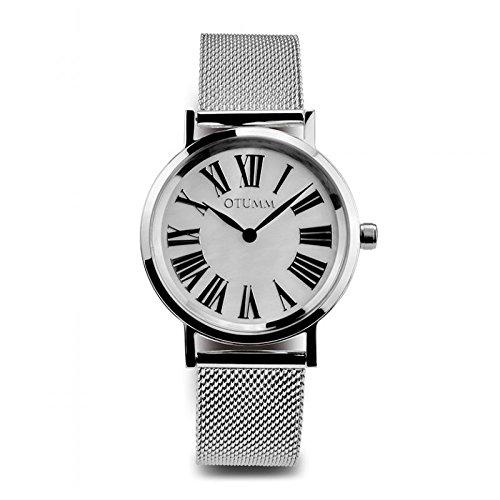 Otumm Mesh Señora Calendario Romano Acero 36mm Señora Mesh Reloj: Amazon.es: Relojes