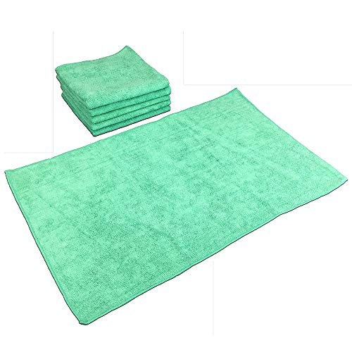 SmartChoice Microfiber Cleaning Cloths (12-pack) | Lint-Free, Streak Free | Various Sizes and Colors Avail | Ideal for Kitchen, Home and Car Use (Green, Large: 16 x 27 in.) by Arkwright