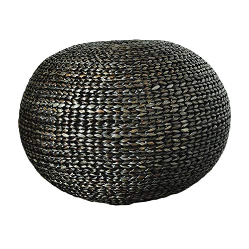 LIXIONG Outdoor Ottomans Footstools Household Rattan Hand Made Round Sofa Stool, Bearing 150KG, 2 Colors (Color : Black)