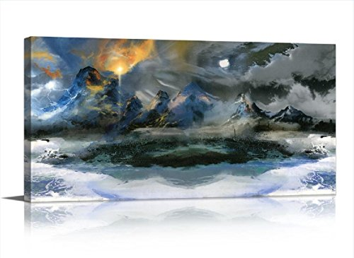 Contemporary Landscape Art - LKY ART Wall Art Blue Wall Art Very Unique Style Design Modern Blue Abstract Canvas Art Canvas Print Sunrise Moon Mountain Grey Contemporary Painting Landscape Picture for Living Room Decor 20x40Inch