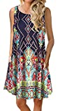 YeeATZ Women's Summer Casual Sleeveless Floral Printed Swing Dress Sundress with Pockets Print XXL