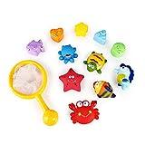 SainSmart Jr. Baby Bathtub Toys Ocean Animals 12PCS,Squirt Bath Toys Fun Children Days Gift, Bathroom Floating Organizers with Fishing Net