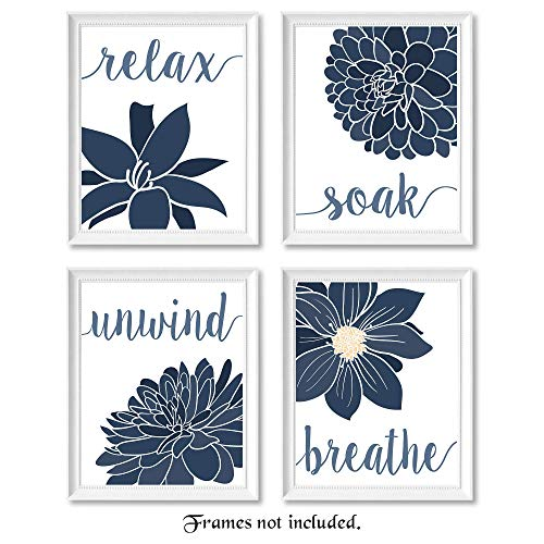 Relax, Soak, Unwind, Breathe Navy Blue & White Bath Flower Signs Poster Prints, Set of 4 (8x10) Unframed Photos, Wall Art Decor Gifts Under 20 for College, Home, Studio, Student, Teacher, Floral Fan (And Navy Blue White Decor)