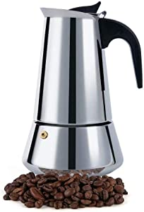 FCUS Stovetop Espresso Maker, Moka Pot, 6 Cup Percolator Italian Coffee Maker, Classic Cafe Maker, Stainless Steel, Suitable For Induction Cookers