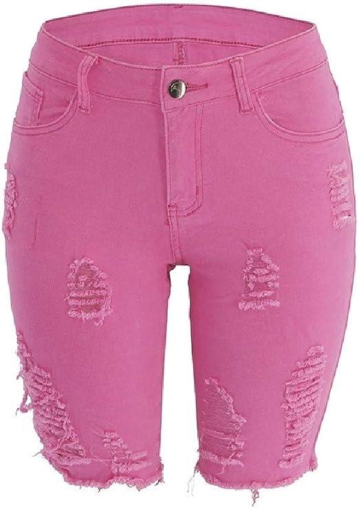 AngelSpace Womens Skinny Mid-waist Elastic Ripped Distressed Mid-length Denim Pants