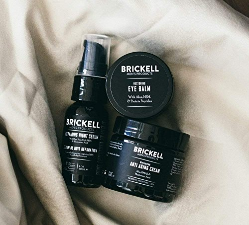 51akxwRpbnL - Brickell Men's Advanced Anti-Aging Routine, Night Face Cream, Vitamin C Facial Serum and Eye Cream, Natural and Organic, Unscented