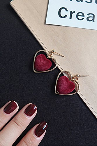 Generic Every day special | Japanese Harajuku retro sweet love hollow peach heart-shaped earrings no pierced ear clip
