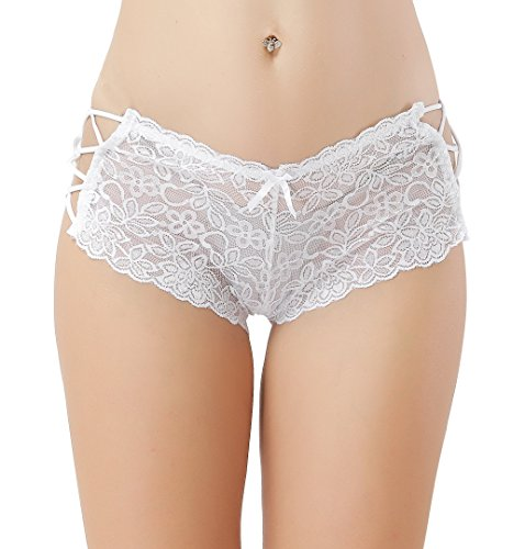 Women's Sexy Lingerie Lace Boyshort Panties with Lace Side Tie Boyleg Stretched Underwear XL=US 8-10 White