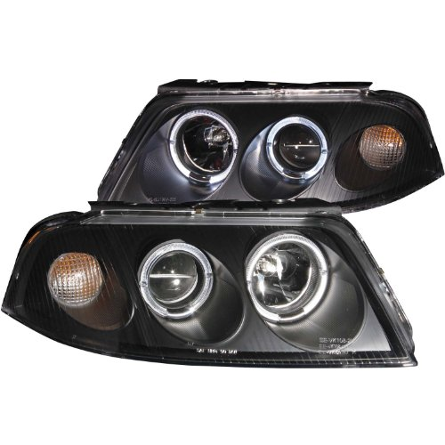 AnzoUSA 121357 Black/Clear Halogen Projector Headlight for Volkswagen Passat (Passat Projector)