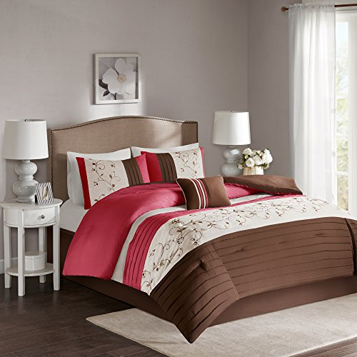 Comfort Spaces – Verene Comforter Set - 5 Piece – Red Brown – Serene Panels and Floral Embroidery in traditional look – King size, includes 1 Comforter, 2 Shams, 1 Decorative Pillow, 1 Bed Skirt (Designer Comforter Sets King Size)