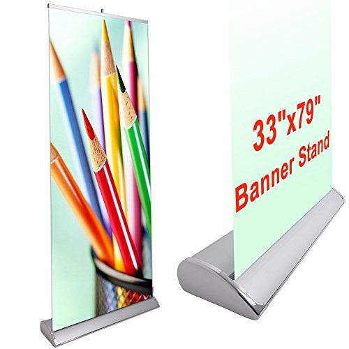 (Portable 33x 79 Inches Luxury Rollup Retractable Banner Graphic Stand Trade Show Display Sign Holder Exhibition Promotion Aluminum Structure)