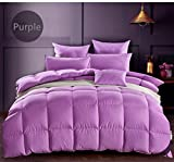 Luxurious White Goose Down Comforter Duvet,800TC Down Proof Cover,850+ Fill Power,Soft Warm Brethable, Medium Warmth (King Size, Purple)