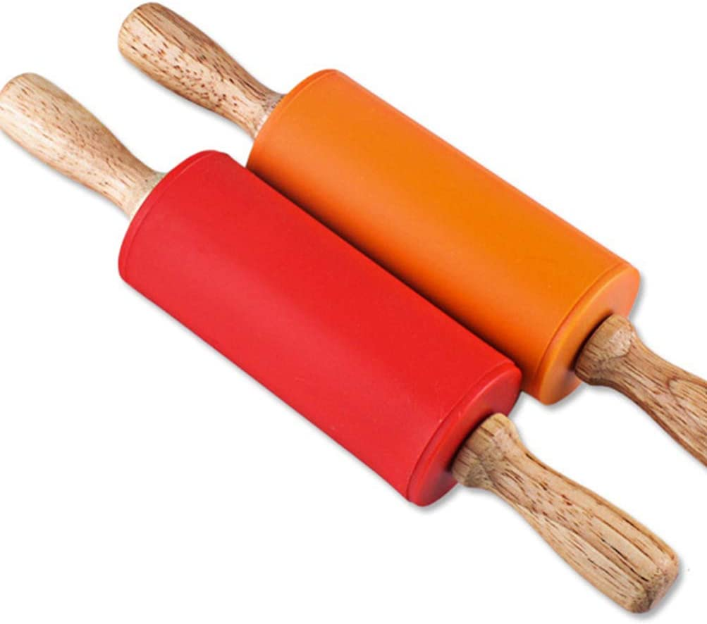 Red, Green, Orange, Blue STOBOK Mini Rolling Pin Kids Wooden Handle Rolling Pin Silicone Rolling Pins for Home Kitchen,4 Pack