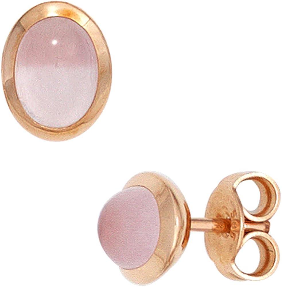 Pendientes de cuarzo rosa oval arqueada 585 oro rojo dorado para mujer