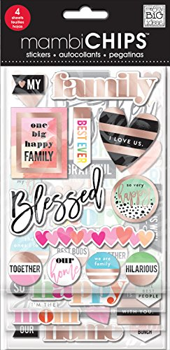 mambiChips I Love Us Family Pop-up Chip, 4 Sheets Stickers with Rose Gold Foil Treatment