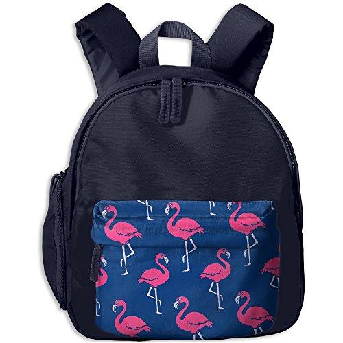 HZamora_DM Children Pink Flamingo Blue Pattern Oxford School Bag Backpacks Bookbag Lunch Bag Side Pocket - Online Delivery Buy Next Day