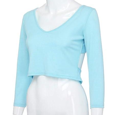 Tops Mujer Fiesta Sexy,BBestseller Elegante Camisetas Personalizadas Manga Larga Camisa Espalda Abierta Cruz Blusa para Mujer