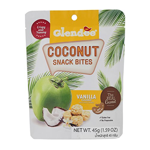 (Glendee, Coconut Snack Bites with Cashew Nut, Vanilla Flavour, net weight 45 g (Pack of 3 pieces) / Beststore by KK8)