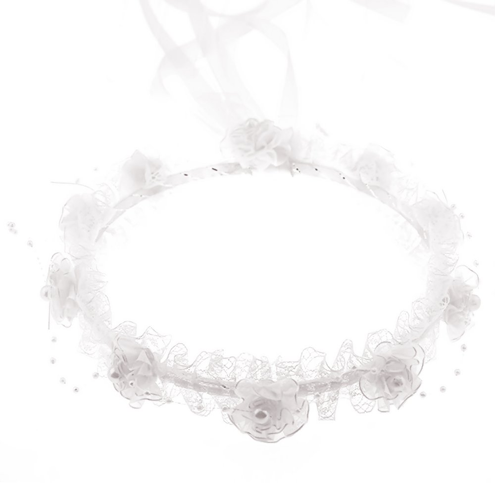 Artificial Flower Floral Lace Bead Ribbon Hair Wreath Garland Headband Crown for Girls White Elisona