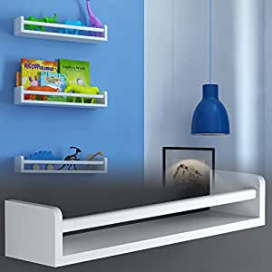 Children's Wall Shelf Wood 17.5 Inch Multi-use Bookcase Toy Game Storage Display Organizer Ships Fully Assembled (White)