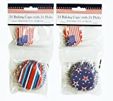 Varied Patriotic Baking Cups 24 Cupcake Liner with 24 Decorative Picks - One Pack