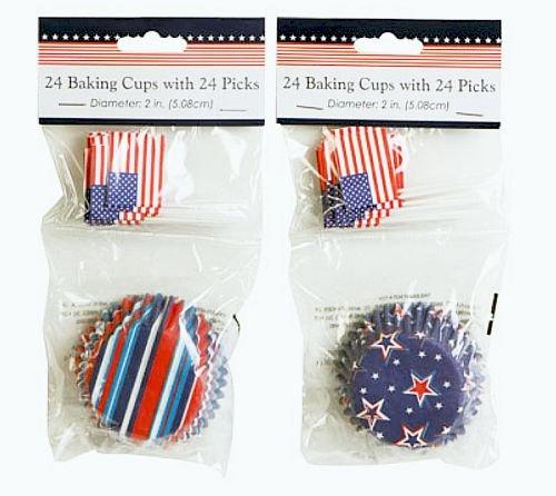 One Pack Patriotic Baking Cups 24 Cupcake Liner with 24 Decorative Picks - Varied Design