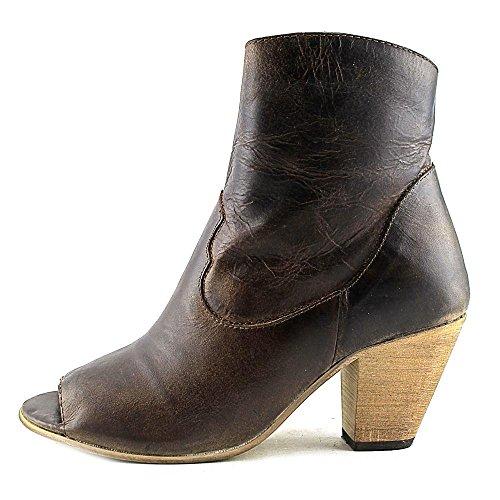 Womens Leather Koko Brown Dark Cowboy Brown Dark Peep Fashion Dingo Toe Boots dA0qtxc