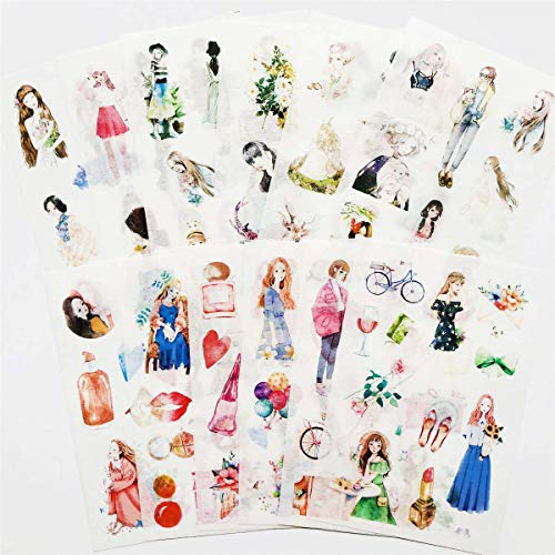 12 Sheets/Pack Fashion And Sweet Girls Washi Stickers Decorative DIY Arts Crafts Life Daily Planner Bullet Journals Scrapbooks Calendars Album Creative Notebook D for Diary Album Notebook (Sweet girl)
