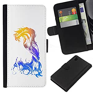 All Phone Most Case / Oferta Especial Cáscara Funda de cuero Monedero Cubierta de proteccion Caso / Wallet Case for Sony Xperia Z1 L39 // Waves Mermaid Woman Art Goddess Watercolor