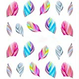 CJESLNA Colorful Beauty Leopard Water Transfer Stickers Nail Art Tips Feather Decals