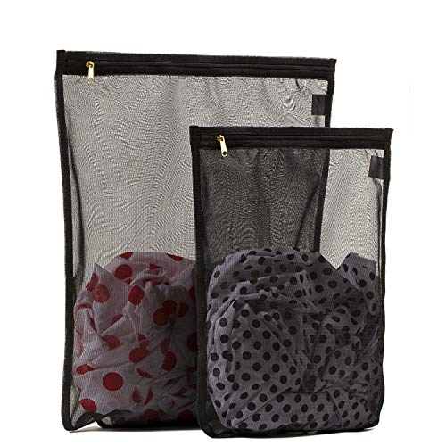 2 Pack (1 Large & 1 Medium) - Tenrai Delicates Laundry Bags, Bra Fine Mesh Wash Bag, Zippered, Protect Best Clothes in The Washer (2 Black)