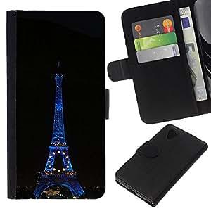 KLONGSHOP // Tirón de la caja Cartera de cuero con ranuras para tarjetas - Arquitectura Torre Eiffel en la noche - LG Nexus 5 D820 D821 //