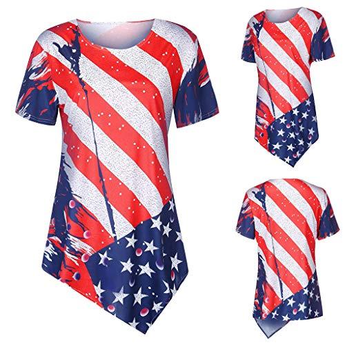 Finedayqi  Woman Dress,Women Fashion Short Sleeve American Flag Print T-Shirt Casual Tee Top Blouse Red