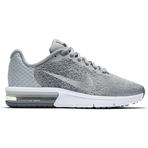 NIKE Girls Air Max Sequent 2 Running Shoe,6.5, Wolf Grey/Metallic Silver-Cool (Nike Big Kids Shox)