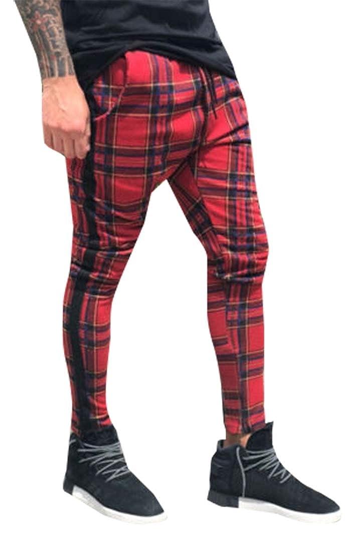 Mens Premium Pattern Plaid Camo Luxury Stripe Ankle Zip Track Pants