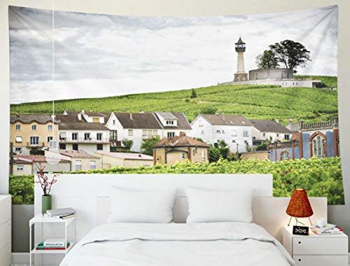 (Bisead Beach Tapestry, Map Art Tapestry Champagne Vineyard Lighthouse in The Near France Region Vernezay Wall Hanging Gifts for Bedroom Dorm Décor)