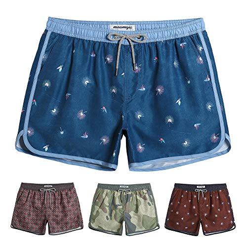 MaaMgic Mens Classic Swim Trunks Retro Vintage Swim Shorts 90s 80s Swimsuits with Mesh Lining Quick Dry Board Shorts Denim Blue