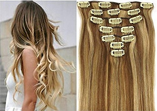 Clip Honey (Wonderful 15inch 70g 7pc 12/613#honey bleach blonde Clip In Remy Human Hair)