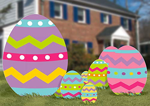 (amscan Multicolored Easter Eggs Corrugated Signs, 5 Ct. | Party Decoration)