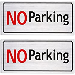 2-Pack No Parking Signs - 7.87 x 3.6 Inches Driveway Signs, Commercial Parking Signs, Aluminum, Self Adhesive Signs for Personal Parking Space, Silver