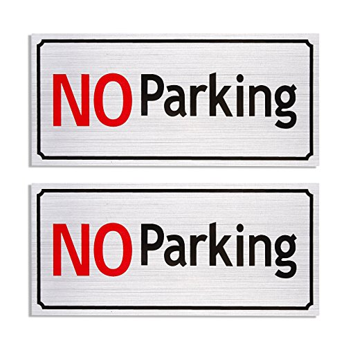 2-Pack No Parking Signs - 7.87 x 3.6 Inches Driveway Signs, Commercial Parking Signs, Aluminum, Self Adhesive Signs for Personal Parking Space, - No Parking Metal Signs