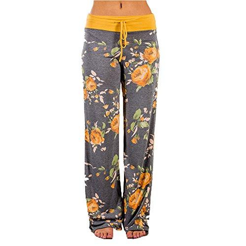 WFTBDREAM Pajamas For Women Floral Printed Wide Leg Palazzo Lounge Pants High Drawstring Waist L