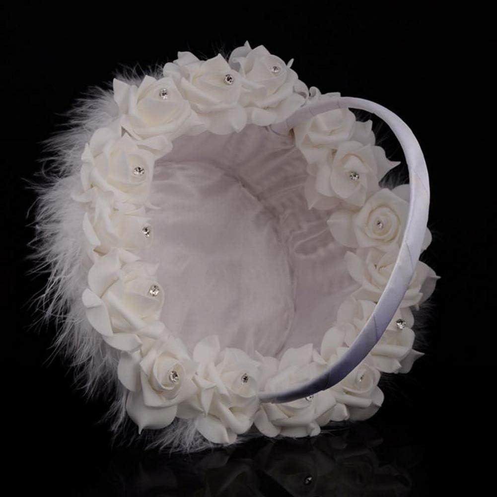 Mariage Panier De Fleurs Romantique Satin Blanc Perle Fille Fleur Panier Mari/ée Plumes Fille Fleur Panier Confetti Panier De Mariage Banquet D/écoration