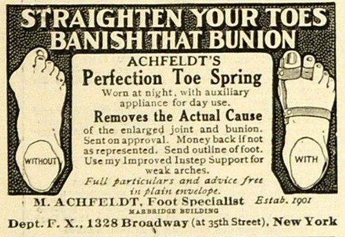 Device Spring (1918 Ad M. Achfeldt Foot Specialist Broadway NYC Perfection Toe Spring Device - Original Print Ad)